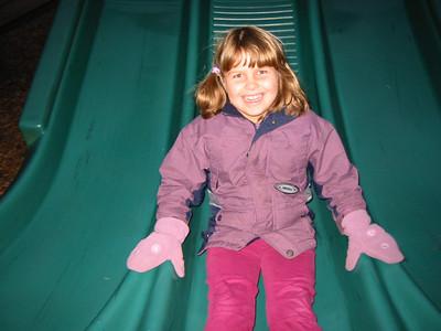 Kayla showing her sister proper sliding form.