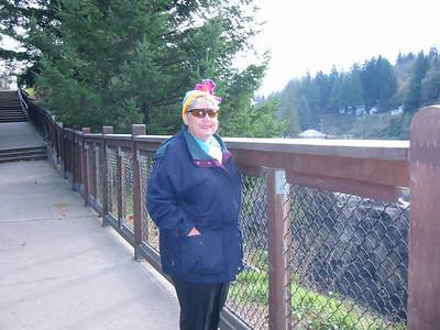 Grandma Solem braving the windy Snoqualmie Falls overlook.
