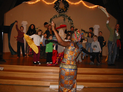 Rehearsing the scarf dance for the Northlake Kwanzaa celebration.