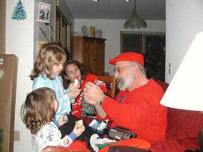 Grandpa opens a gnome that Kayla made.