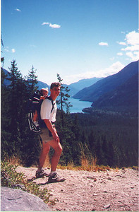 Kayla and Paul hiking in the North Cascades, above the head of Lake Chelan.  Stehekin WA, September 1998