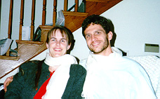 Kris and I modeling our new scarves, Redmond WA, Christmas 1997