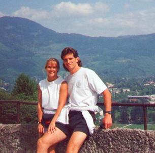 Enjoying the sun at Hoehen Salzburg. Salzburg Austria, April 1993