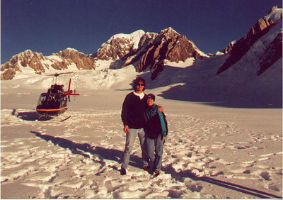 On top of the Fox Glacier in front of the helicopter we arrived there in. South Island New Zealand, April 1996
