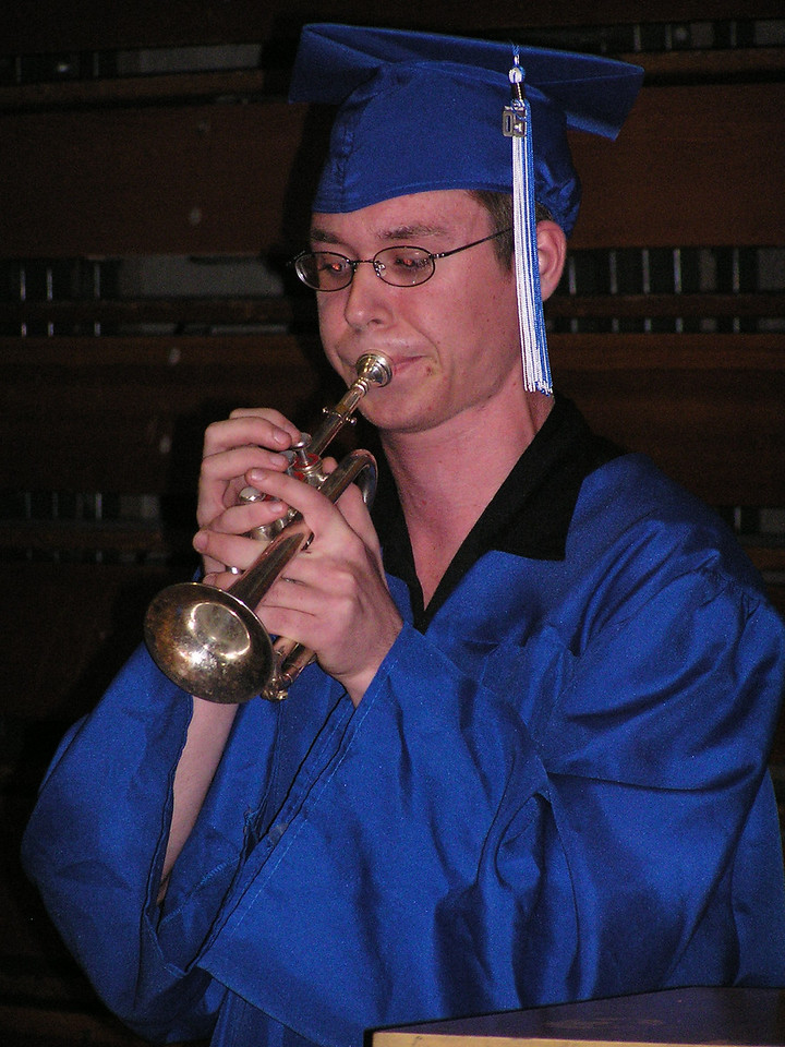 Kevin played a piccolo trumpet solo during the graduation ceremony.