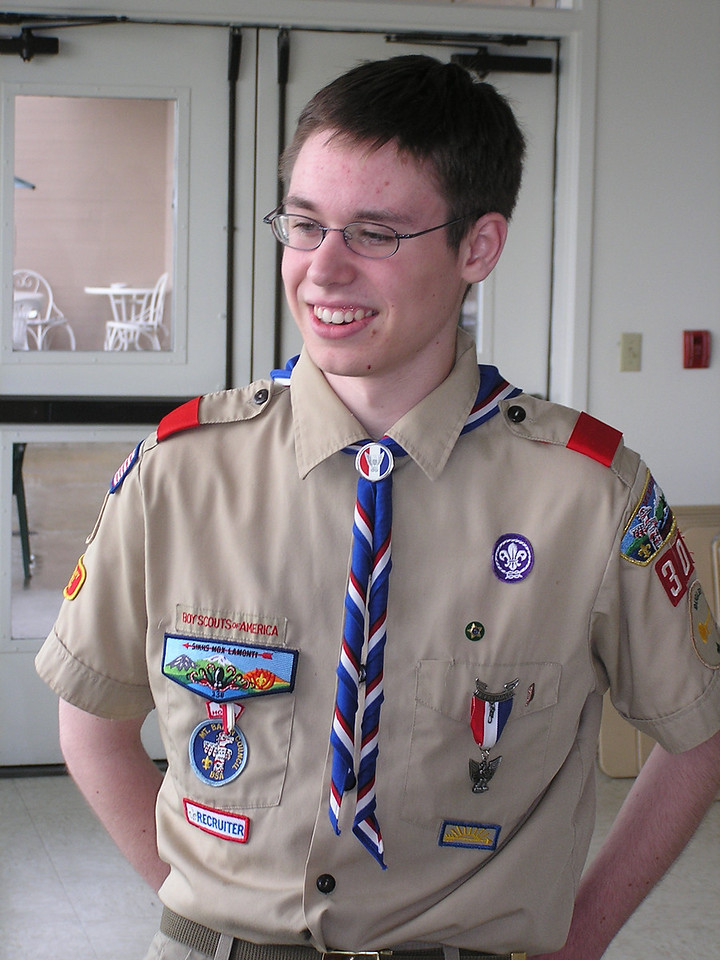 Kevin attending a friend's Eagle Court of Honor.  If you recognize the badge on Kevin's left shirt pocket, you can see that Kevin is an Eagle Scout, too.