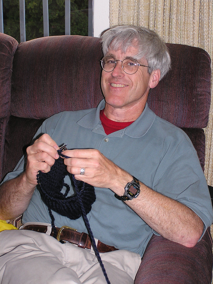 Martin's youngest brother, Glenn.  Yes, he really is knitting.