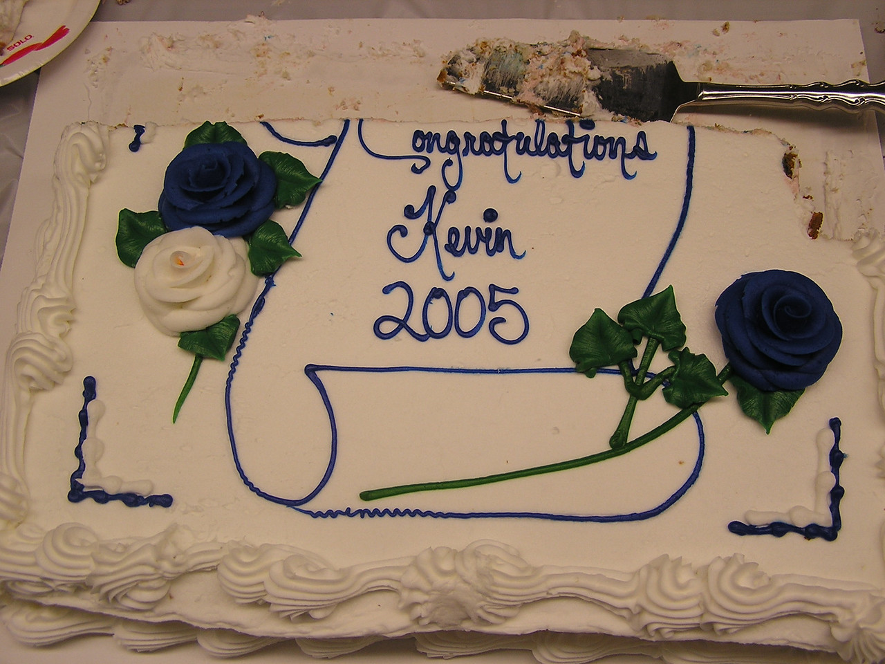 At the graduation pary, Kevin's cake.