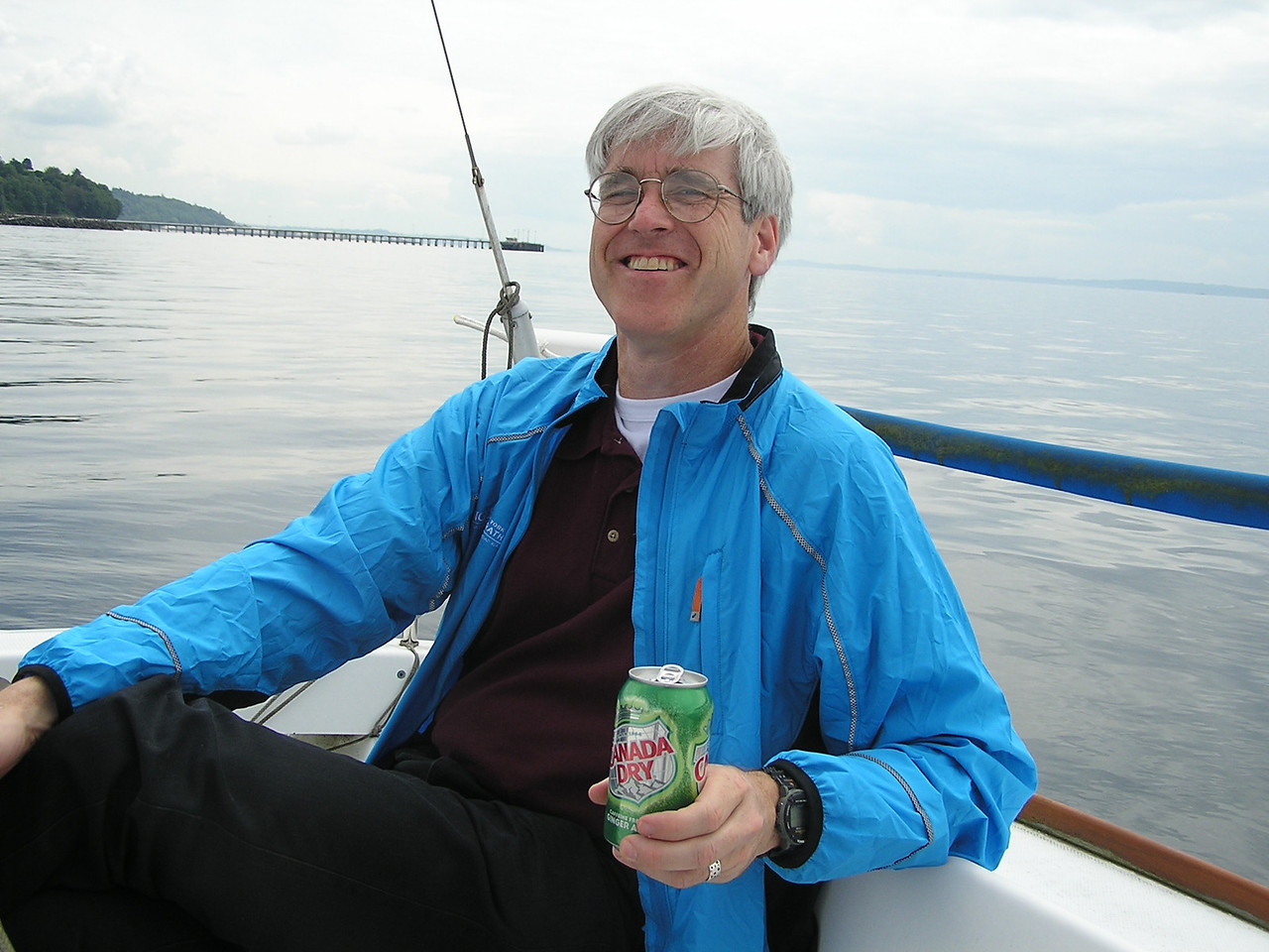 Martin's brother Glenn at the helm of Martin's 21 foot Beneteau sailboat on Puget Sound off of Edmonds.