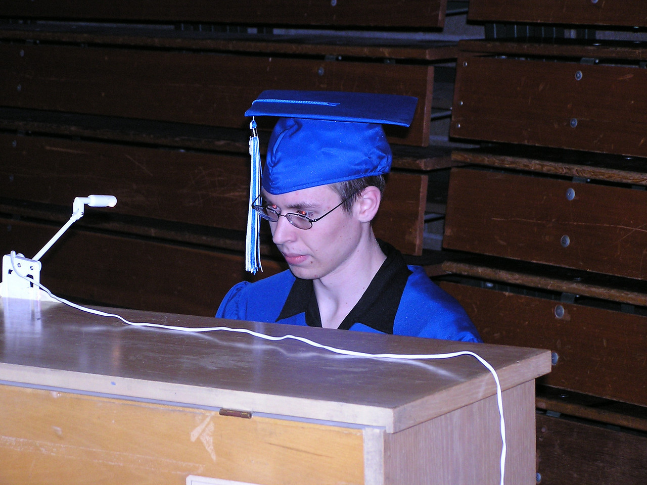 Kevin played piano for graduation.