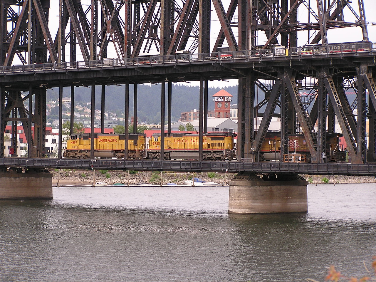 Nathan is interested in trains and we saw lots of them ... including this one on the lower level of the Steel Bridge.  Less easily seen is the commuter light-rail train on the upper level.