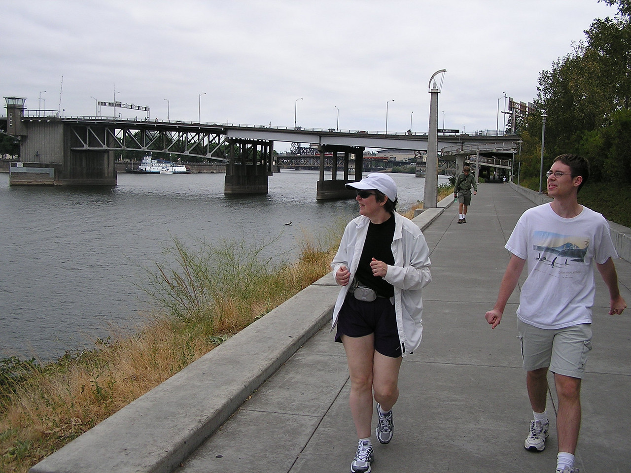 We walked under two bridges on the east side esplanade ...