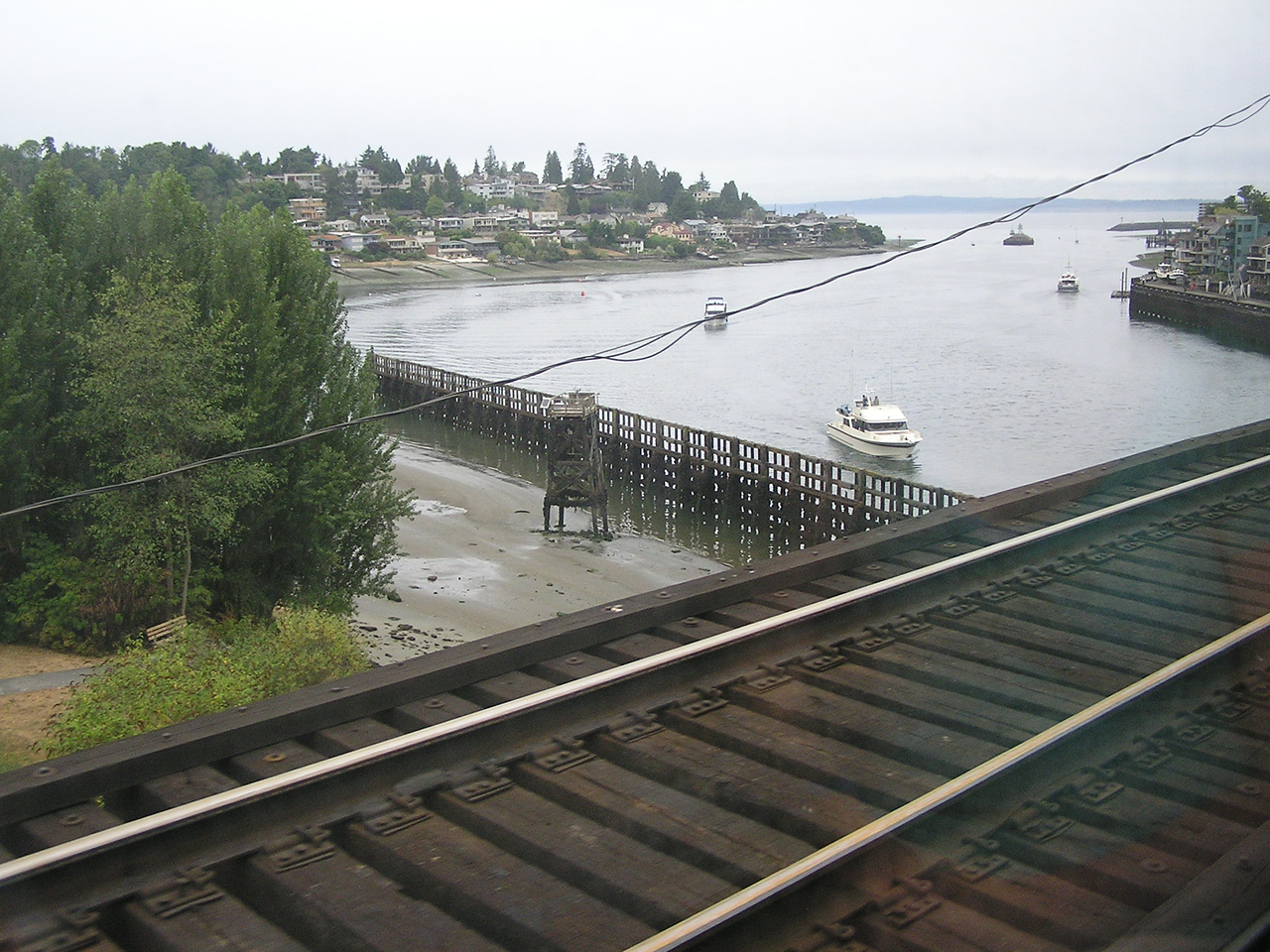 Looking towards Puget Sound from Ship Canal railroad bridge just west of the locks ...