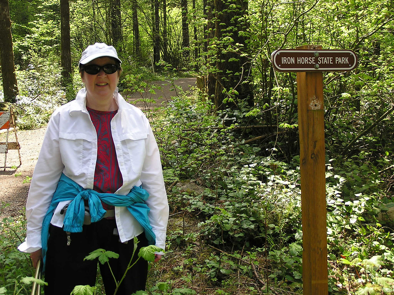 After meandering around the Rattlesnake Lake area for about a mile, we finally hit the trail in Iron Horse State Park.  The state park is an old, abandoned railroad bed.  The old Milwaukee Road right-of-way is an easy grade to walk.  Mary.