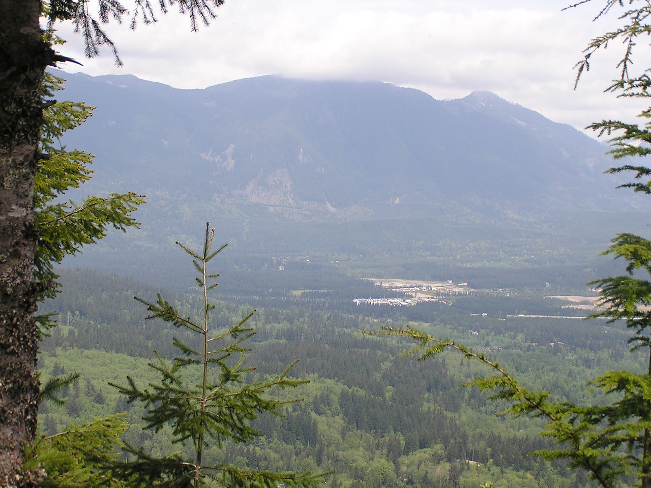 Looking north from Cedar Butte across the valley.  The interstate highway I-90 is the horizontal line on the right side of the picture.