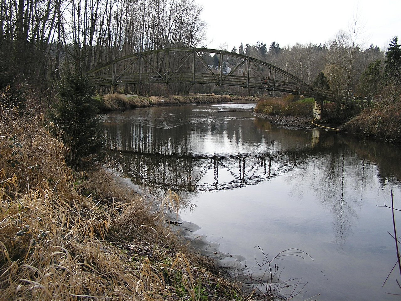We crossed this foot bridge in the town of Bothell.