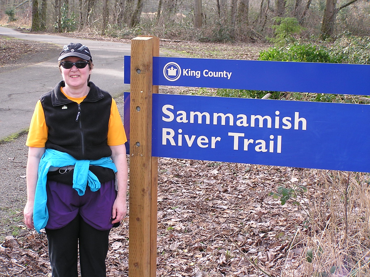The Sammamish River runs through suburban Seattle between Lake Sammamish on the east and Lake Washington.  Luckily, a public trail has been preserved, mostly along an abandoned railroad bed.