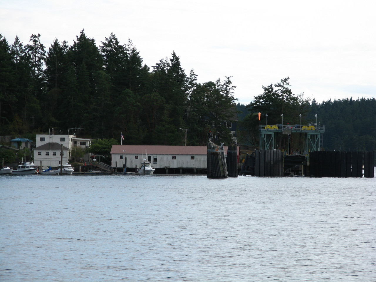 The ferry landing at Shaw Island, which is on the north side of the island and the view is south from the charter boat.