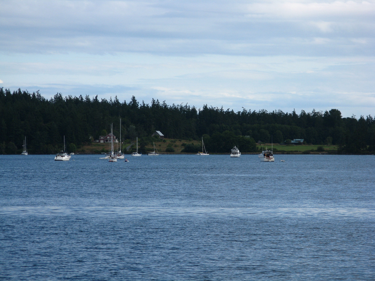 Blind Bay, across from Orcas ferry landing, Shaw Island, looking south.