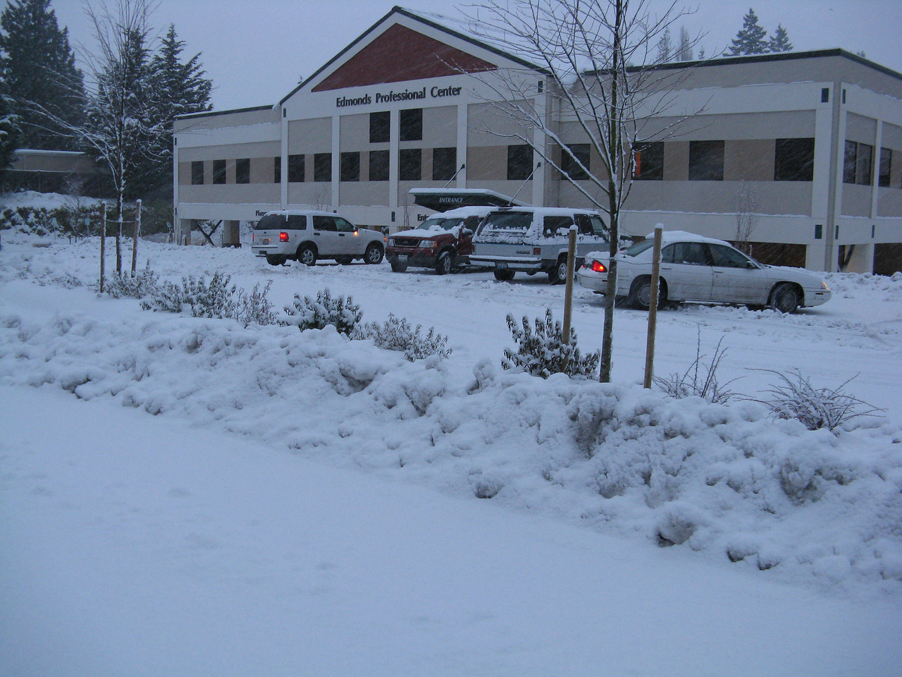This is the building where Martin has his office, on Christmas Eve day.<br /> <br /> After work, I went to the grocery store.  It was packed with shoppers.  The shelves were nearly empty because supply trucks could not get through the snow.