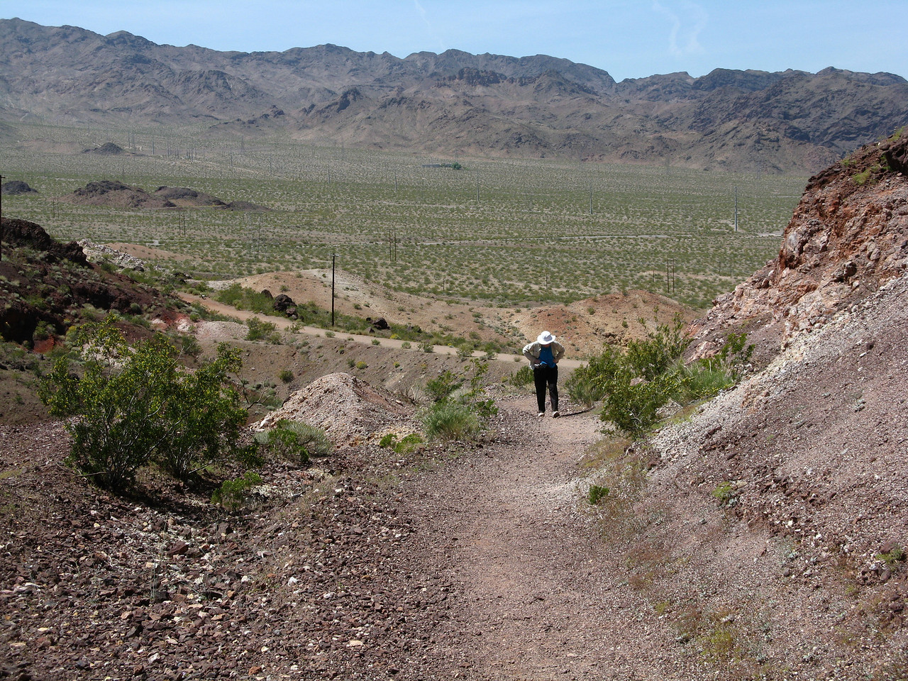 The start and end point of our 10 kilometer volkswalk was the Hacienda Casino and Hotel.  This is the short but steep path from the rail trail to the hotel.<br /> <br /> This was a great day for a spring walk on a historic rail trail to one of the world's greatest engineering achievements -- Hoover Dam.