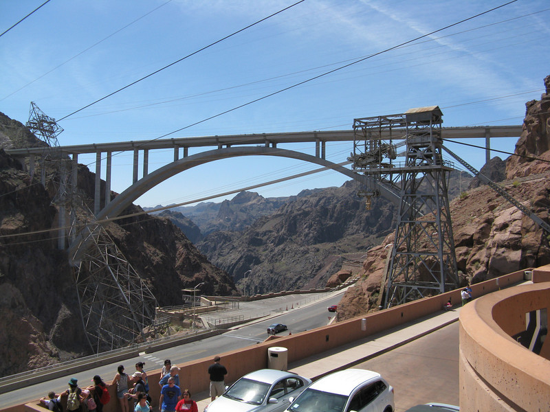 Just above Hoover dam, this picture shows the view from the parking structure, which we walked to.  The new bridge above the canyon was opened to traffic in October, 2010.