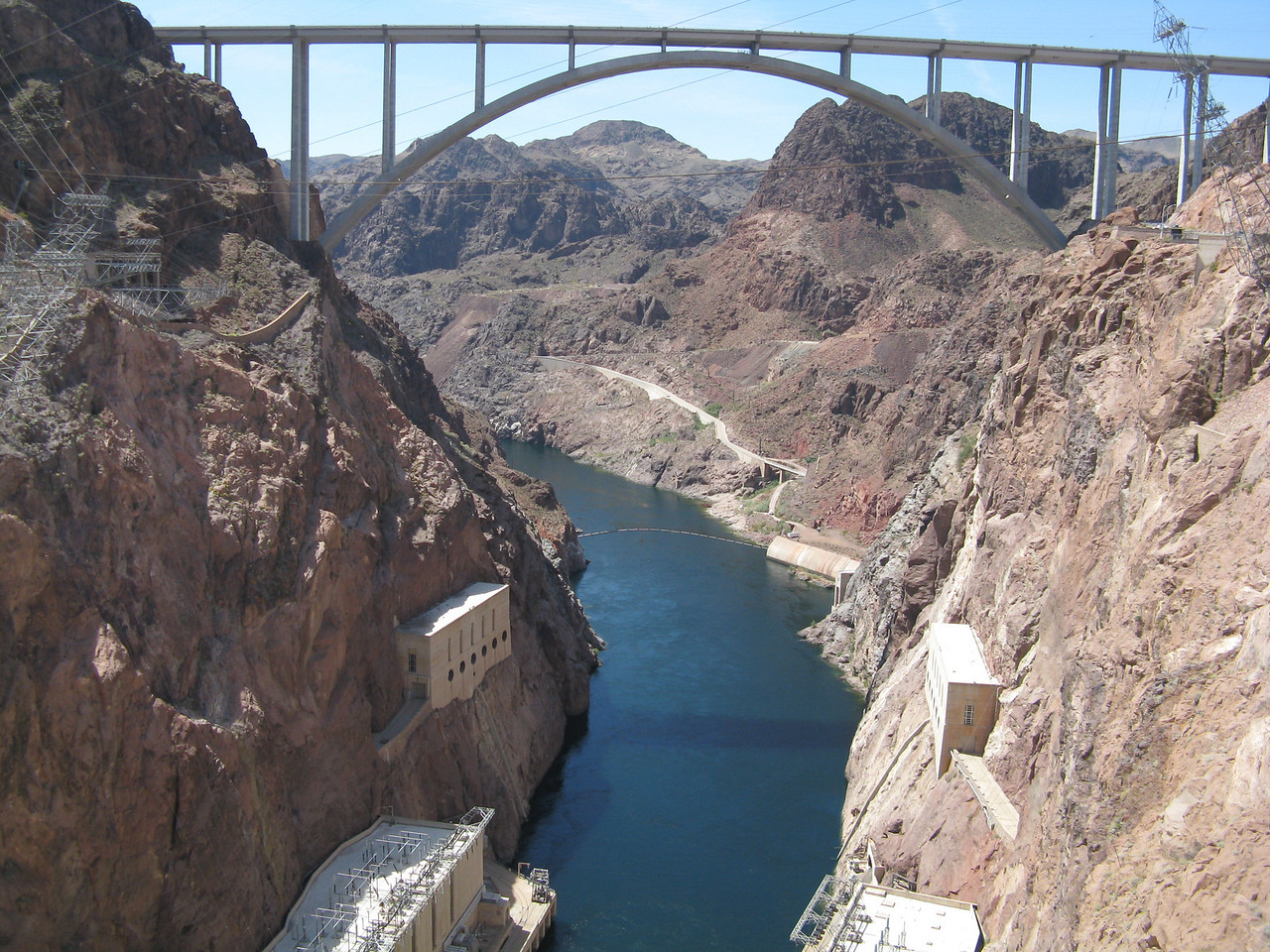 Another view of the bridge and downstream Colorado River from Hoover Dam.