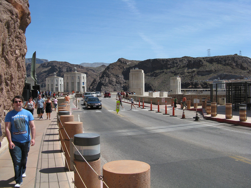 The road and sidewalks at the top of Hoover Dam.  We walked beyond the middle to the Arizona side of the dam.