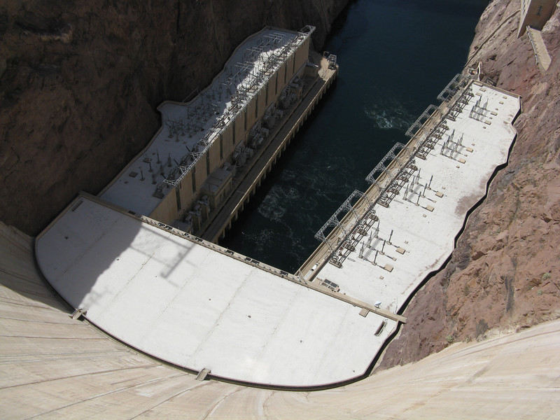 The view of the powerhouses from the top of Hoover Dam.