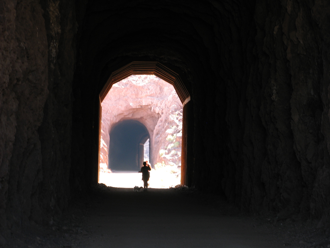 The light at the end of tunnel #1 and also a little light at the end of curved tunnel #2.