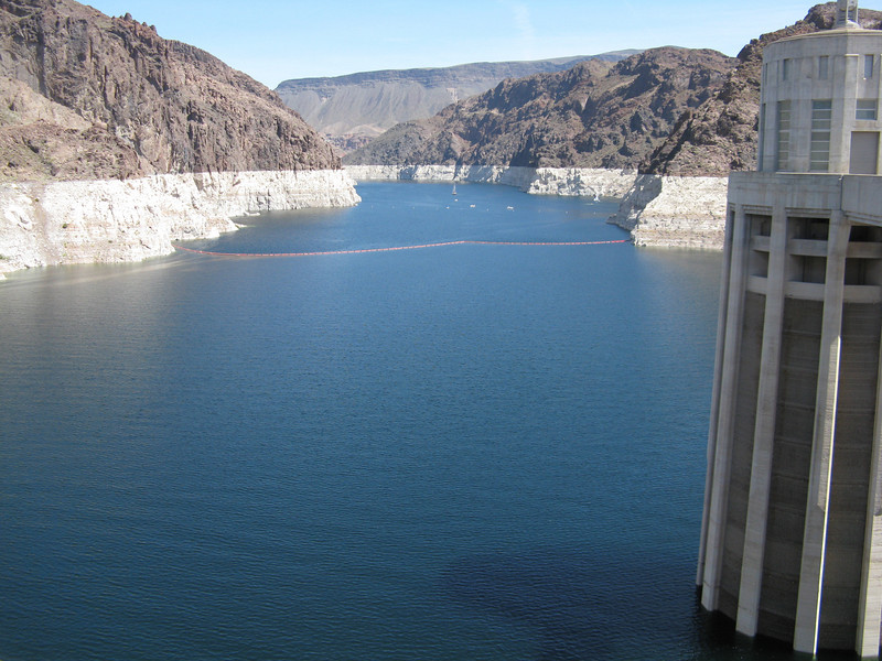 An upstream view of Lake Mead from Hoover Dam.