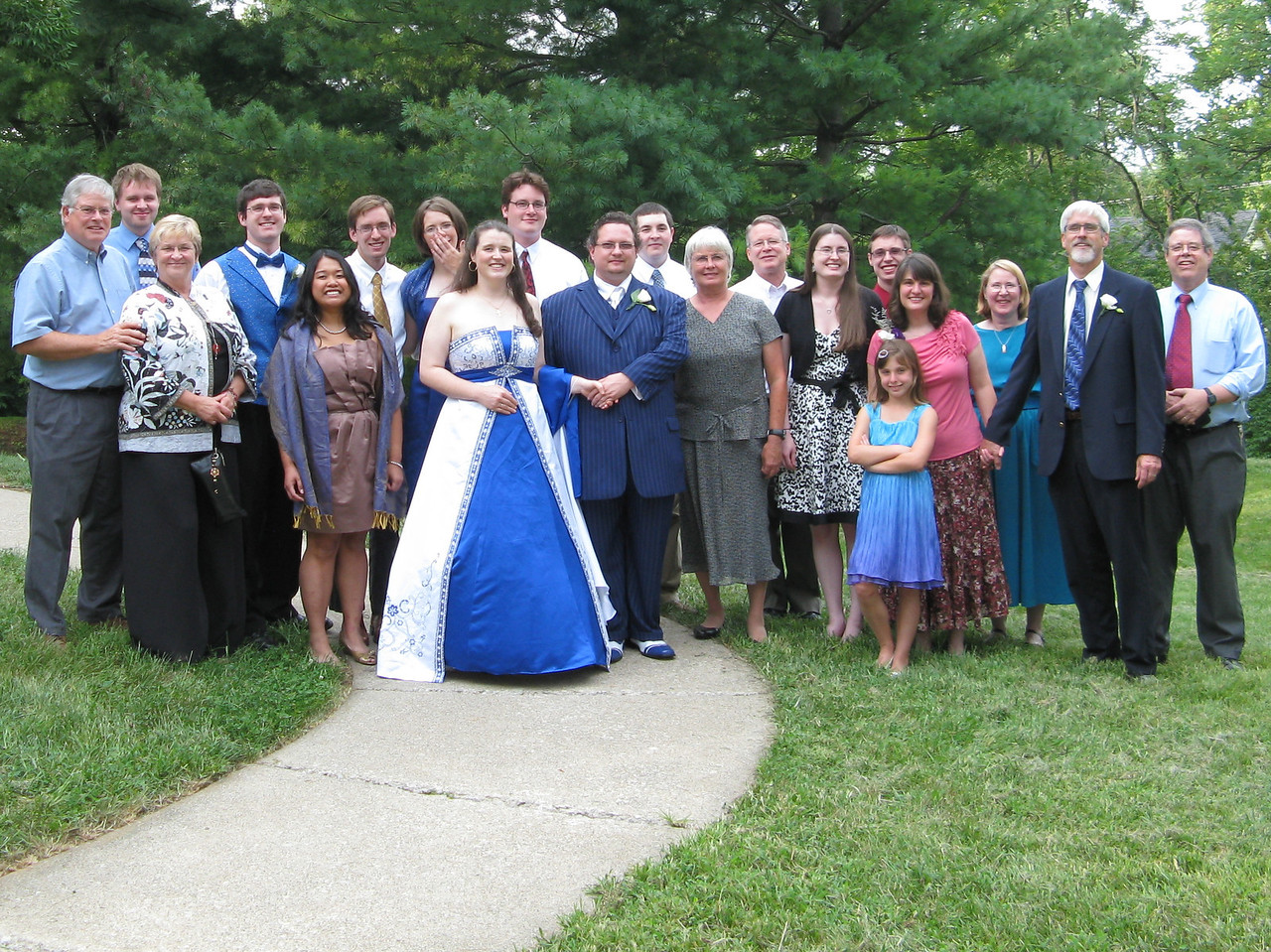 The Proudfoot clan attending Keegan's wedding.  (Front row, L to R): Kathi, Christy, Keegan, Shane, Connie, Leslie, Abby in front of Sonia and Glenn.  (Second row)  Wendell, Nathan, Robert, Kyle, Ann, Stuart, Chris, Richard, Kevin, Mary and Martin.