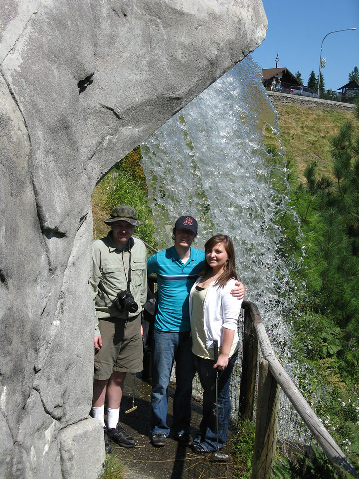 A waterfall next to the course.  Nathan, Kevin and Becca.  On the day after this, Becca got a hole-in-one on the 18th hole of the mini-golf course of the activities center in Leavenworth.