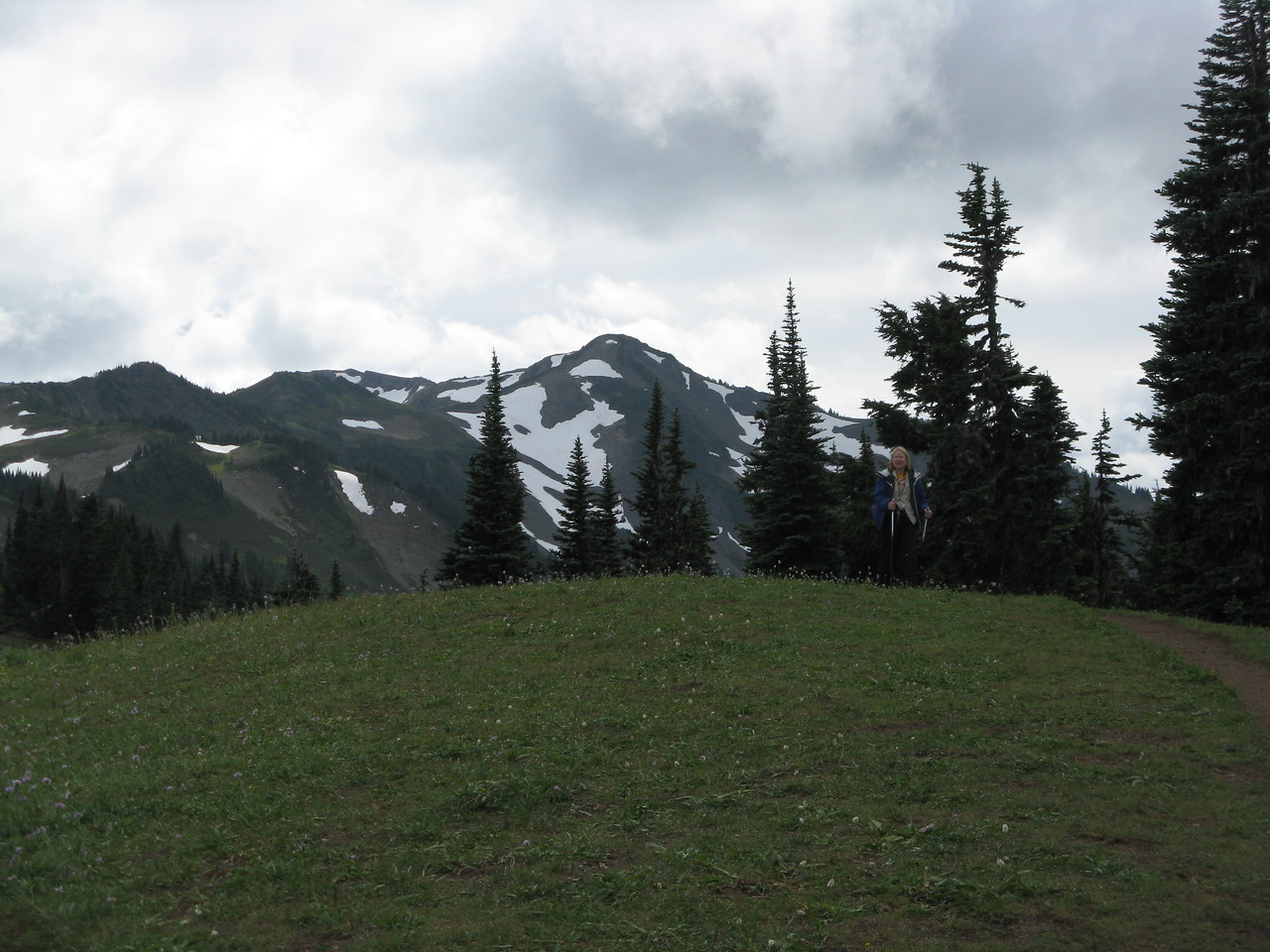 Looking southest from the meadow on the ridge.   Mary is on the path to the right.