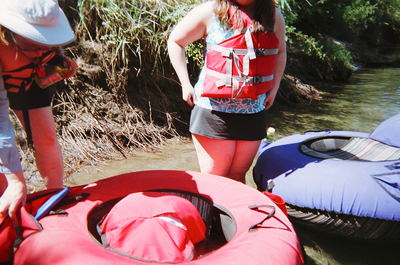 Nathan took this picture of Mary and Becca and the custom inner tubes that we rented for the float trip.