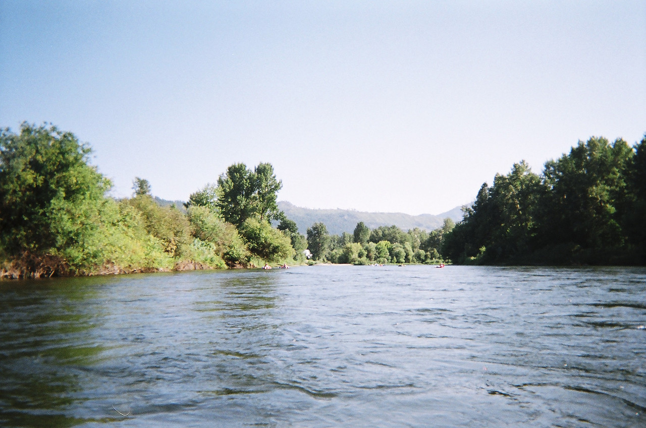 The Wenatchee River is broad, but there is a strong current.