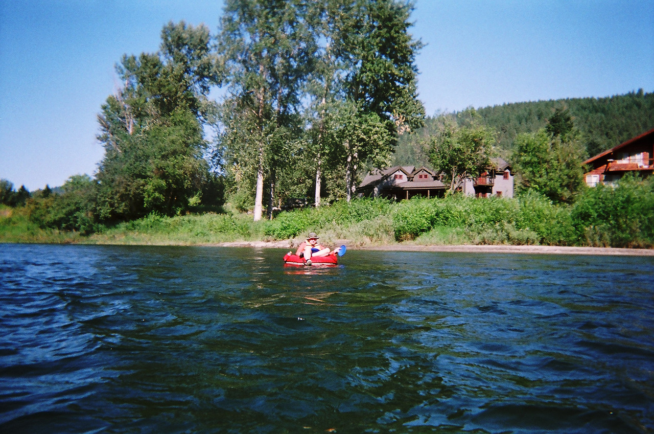 Nathan floating closer to the town of Leavenworth.