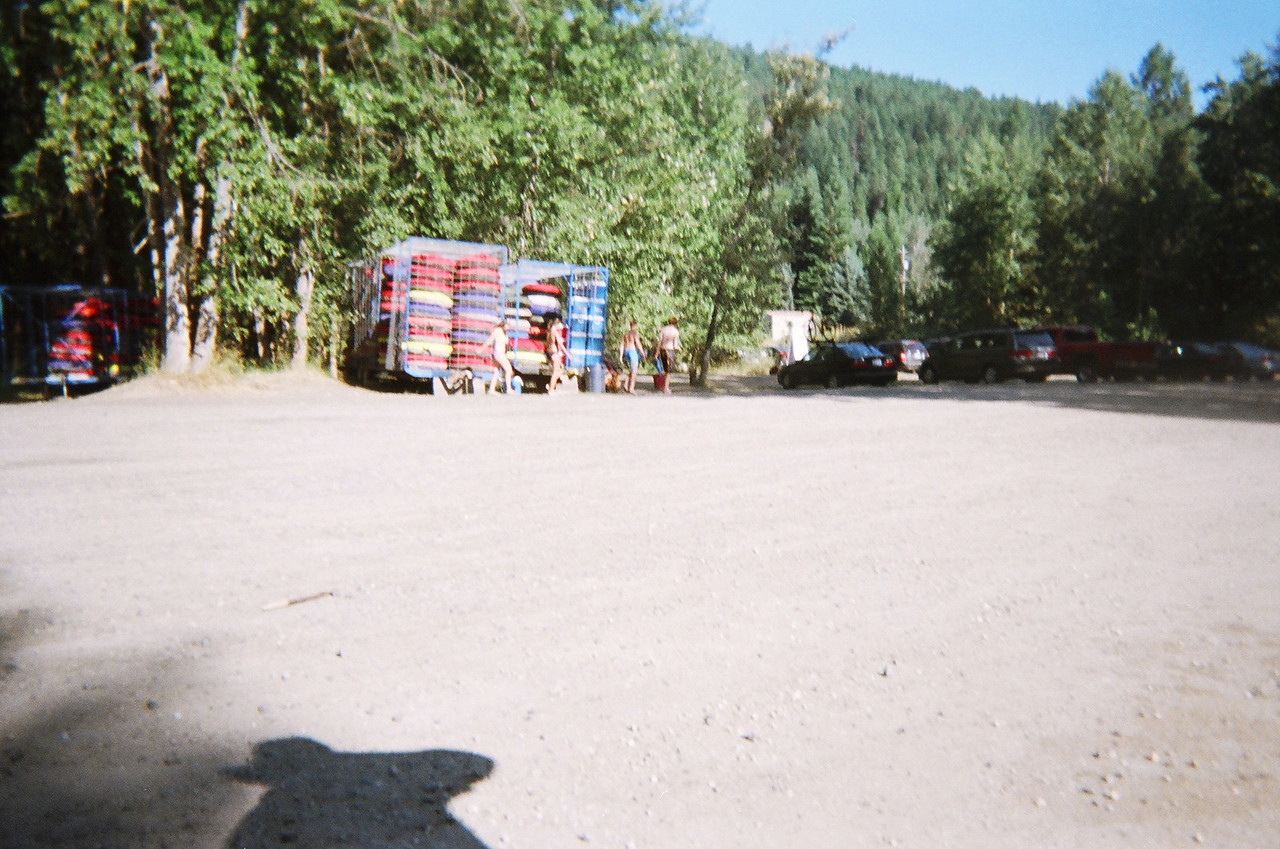 At the end of the day, the take out point is relatively calm.  There are stacks of tubes in the trailers in the middle of the picture.  Our car was parked here.  We loaded up and drove back to our vacation home upstream on the Wenatchee River.  What a great day on the river!