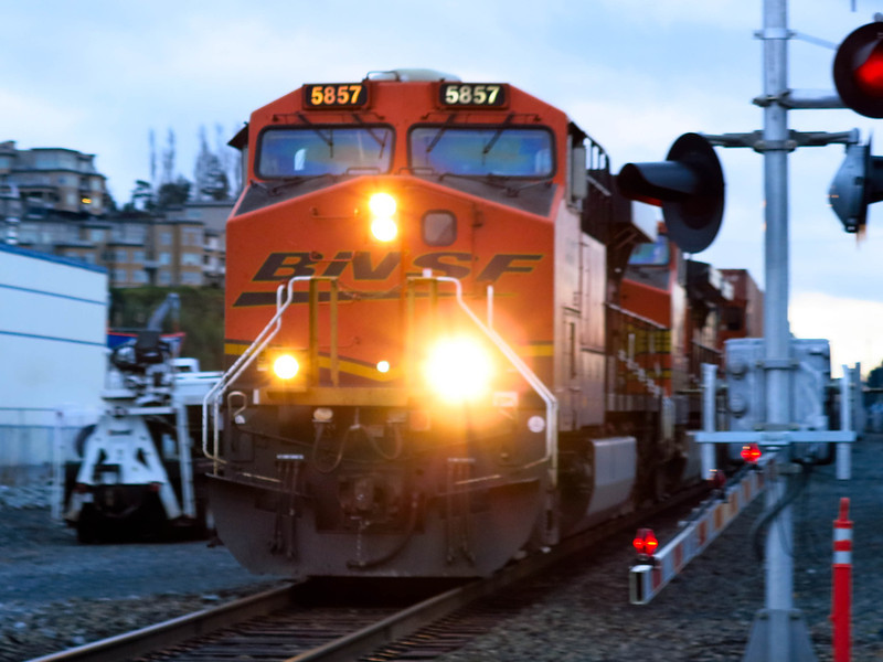 A BNSF freight chugging north along the waterfront in Edmonds.