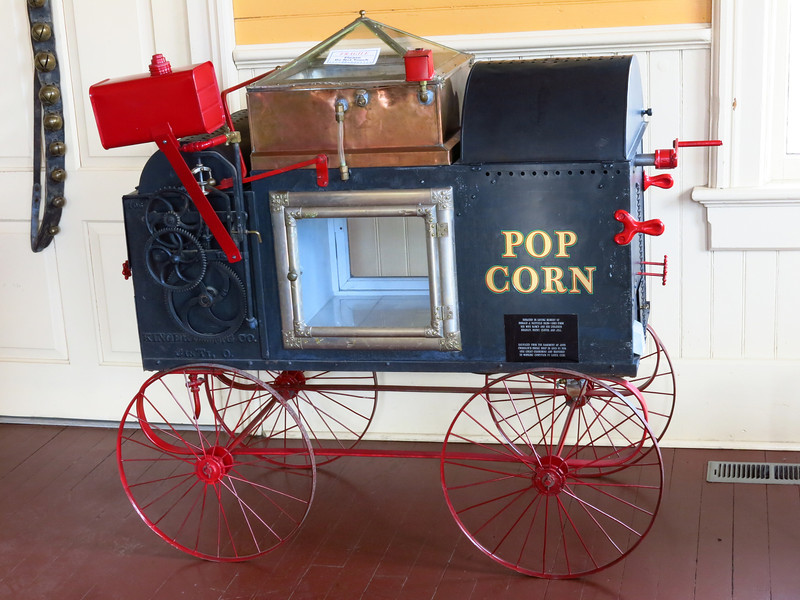 A pop corn machine from the near the 1900s.  It is on display in the depot.