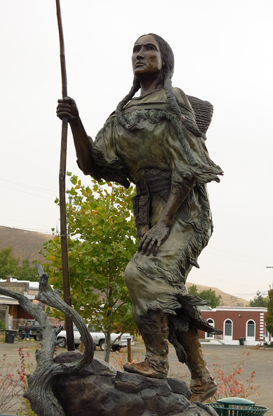 This statue of Sacajawea, the Native American guide to Lewis and Clark, stands at the corner of North 1st Street and Commercial Avenue in Dayton.