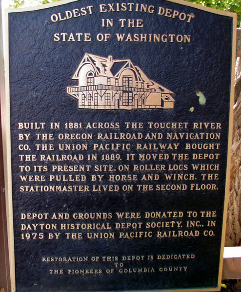 This is the oldest existing depot in the State of Washington.  The station predates when Washington became the 42nd state on November 11, 1889.