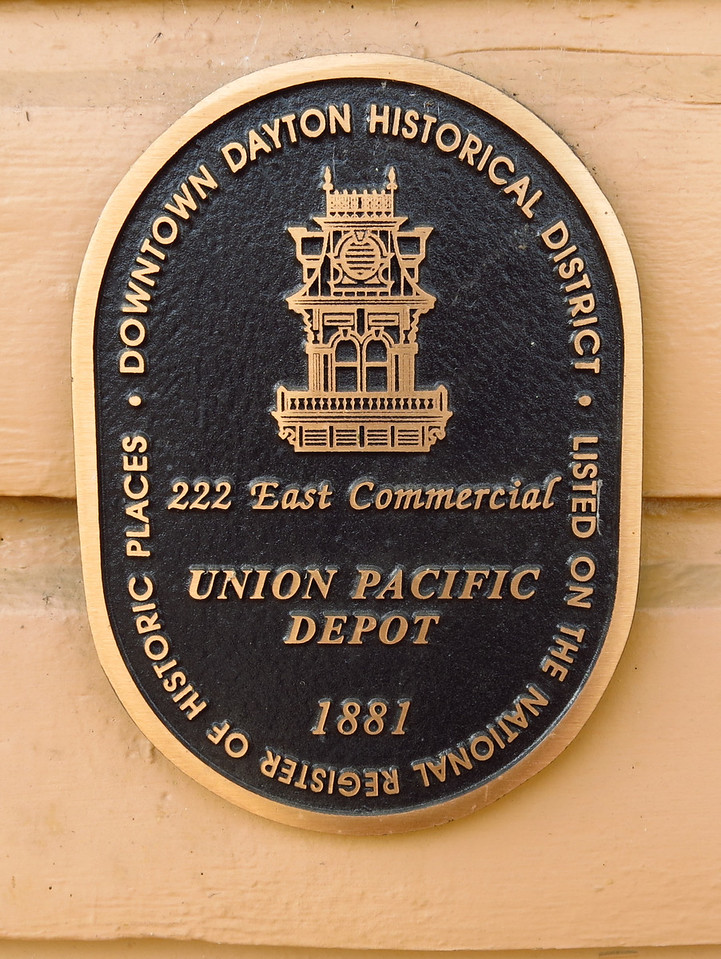 Plaque on the east end of the depot.