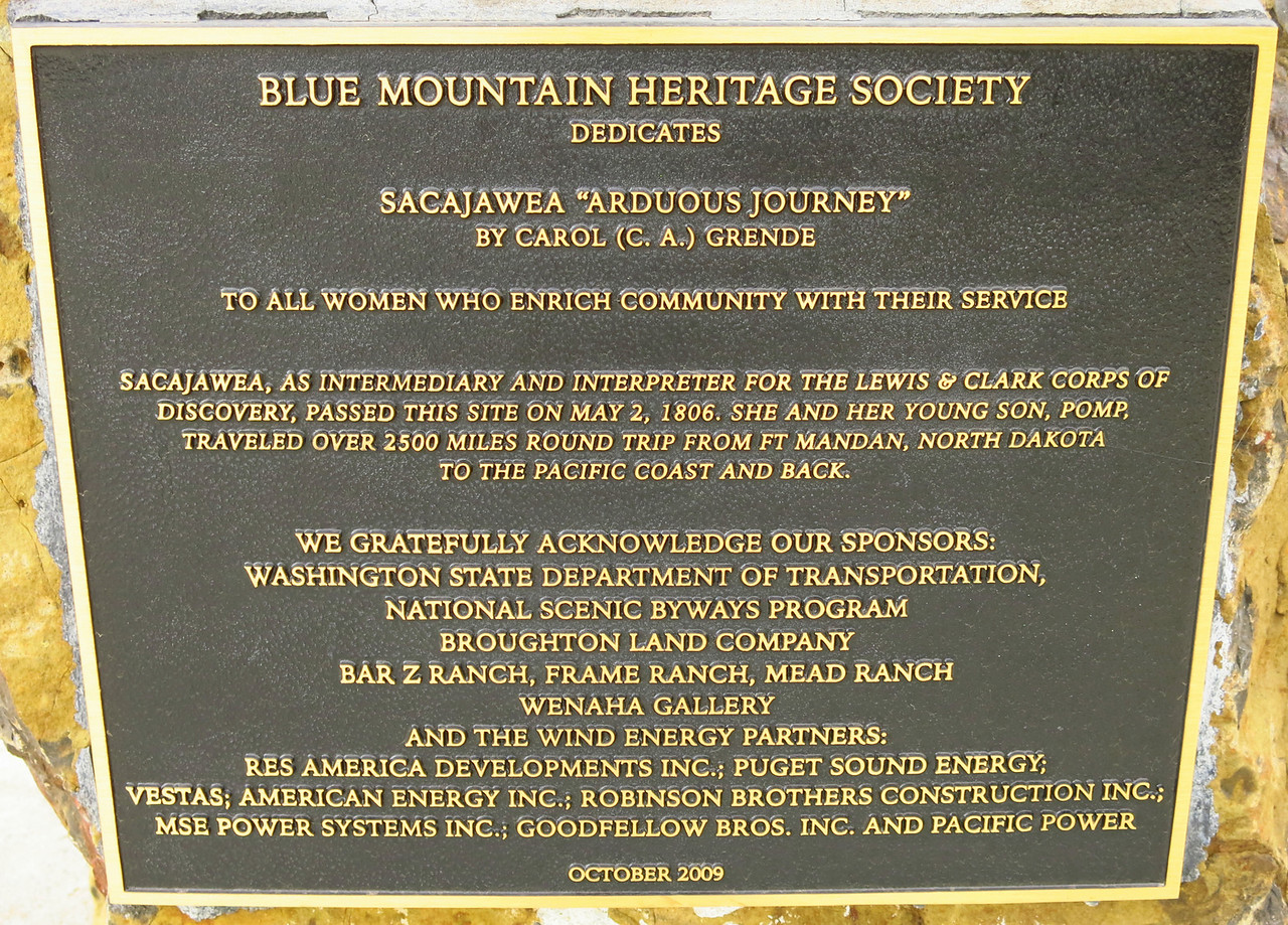 Plaque at the statue of Sacajawea.