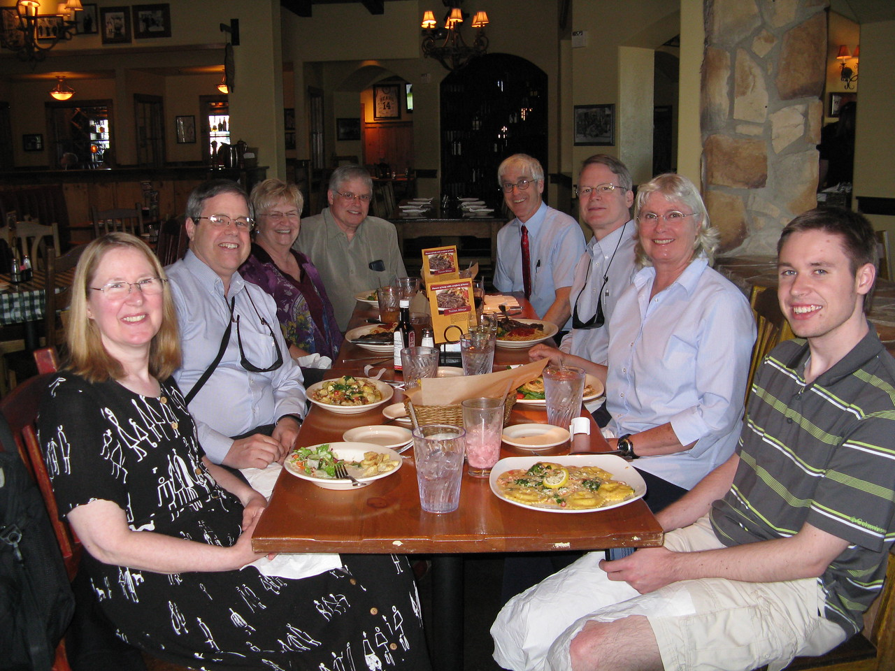 We had dinner at Carino's Italian Restaurant in Greeley shortly before Kevin's graduation.  (L to R)  Mary, Martin, Kathi, Wendell, GLenn, Richard, Connie and Kevin.