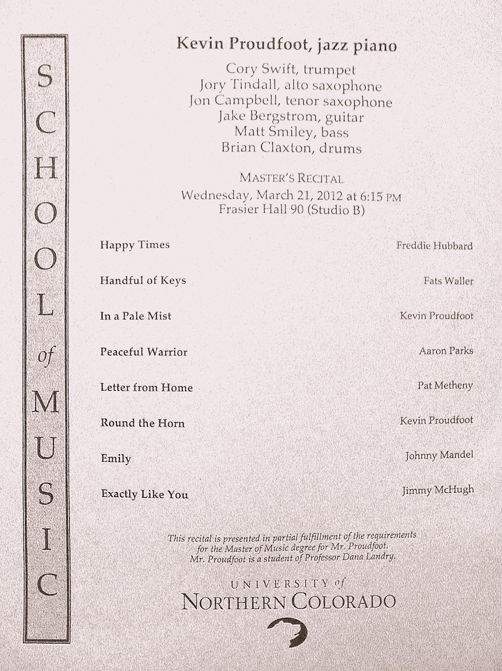 This is the program for the recital.