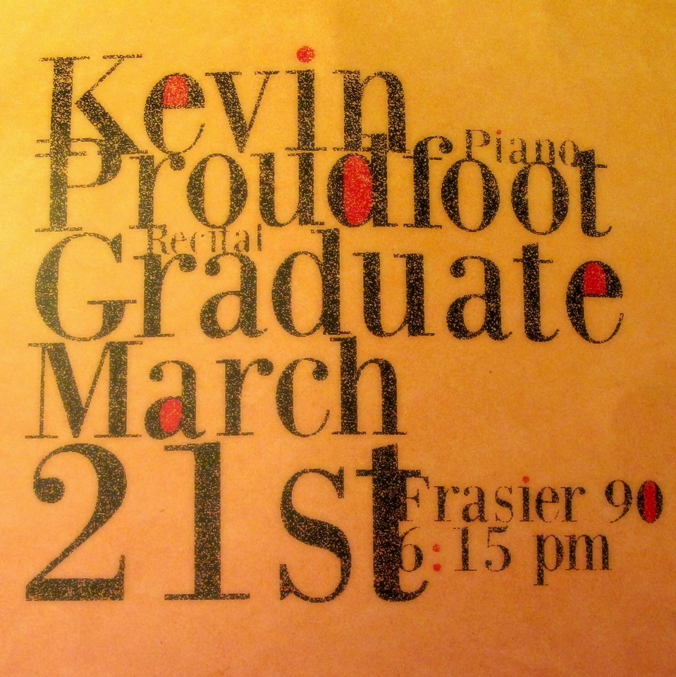 The top of the poster announcing Kevin's Recital.