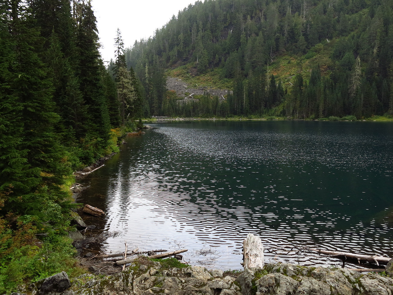 The west shore of the lake is on the left side of the picture.