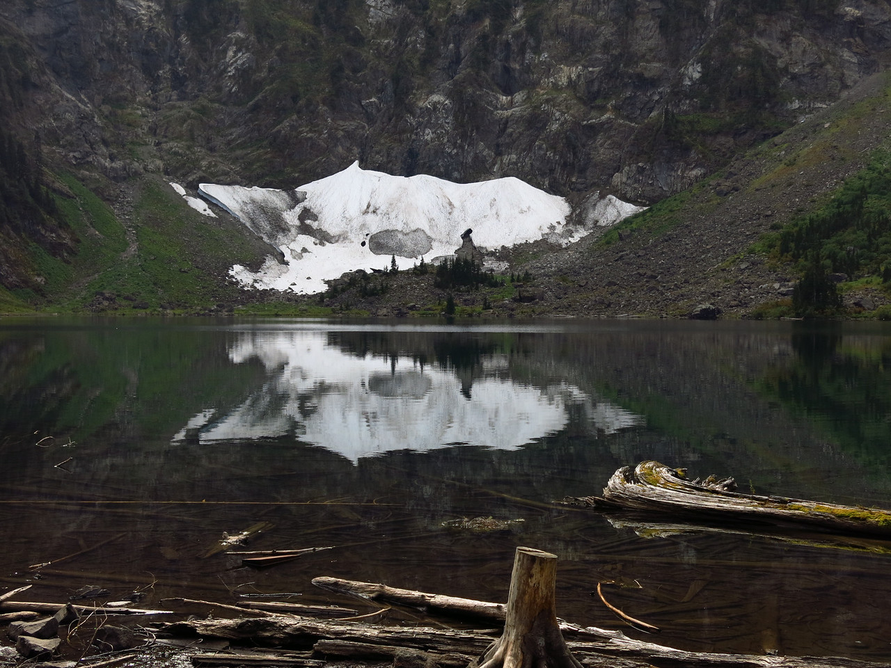 Did I say last on the previous picture?   Snow field, reflections,  and lake bottom
