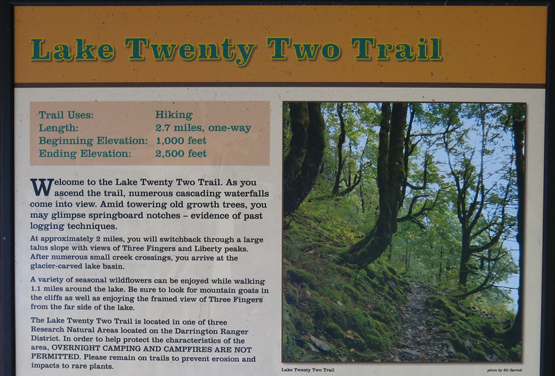The trailhead lies two miles east of the Verlot Ranger Station on the Mountain Loop Highway.